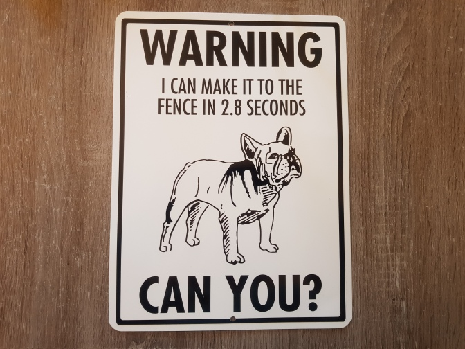 warning i can make it to the fence Frenchie